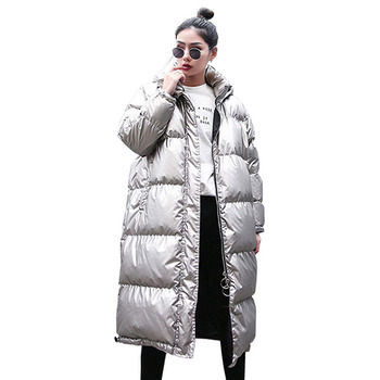 2019 Winter Jacket Women Long Parka Fashion Streetwear Thick Warm Oversized Hooded Outerwear Glossy Sliver Puffer Jackets Ladies