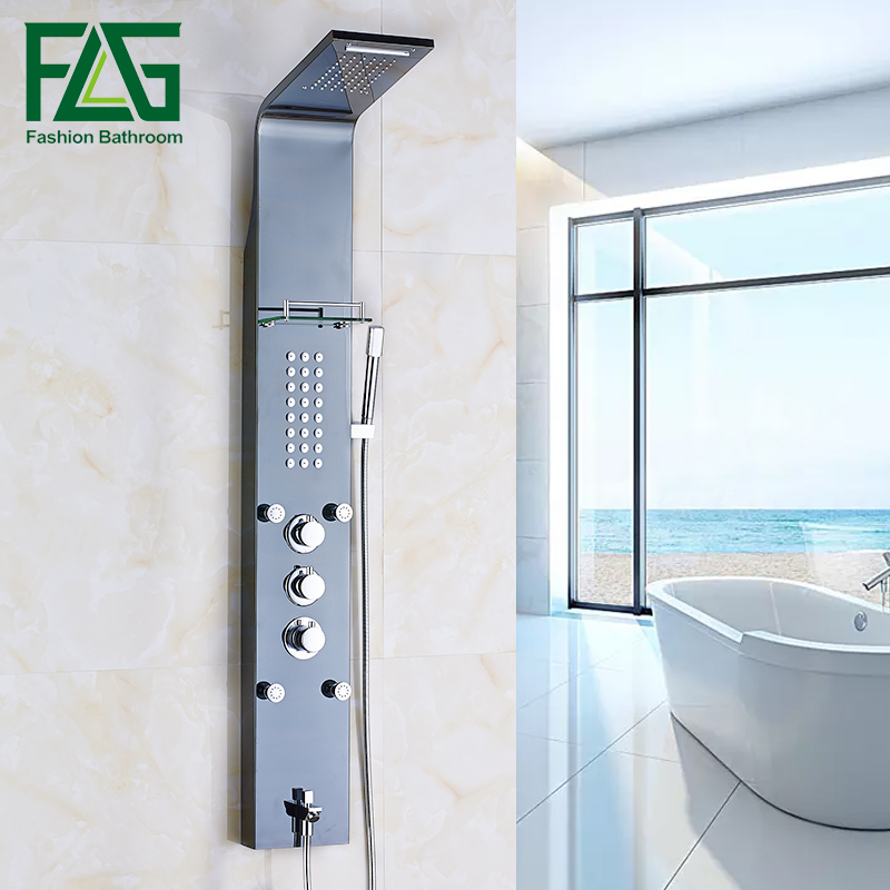 FLG europeo ducha termostática Panel aceitado lluvia columna Jets pulverizador bañera Caño mano negro grifo de la ducha