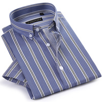 Men S Formal Short Sleeve Multi Striped Office Shirts Comfortable Slim Fit 100 Cotton Thin Casual