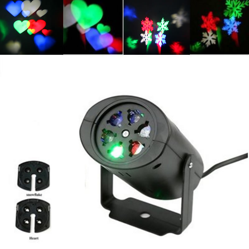 LED Landscape Projector LED Lamps Pattern Stage Light Heart and Snow Spider Bowknot Bat Christmas Party Moving Spotlight christmas heart snowflake halloween spider bowknot projector lights led stage lamps