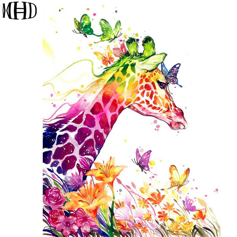 MHD 5d diy diamond embroidery watercolor giraffe and flower diamond painting cartoon full drill cross stitch rhinestone mosaic rysunek kolorowy motyle