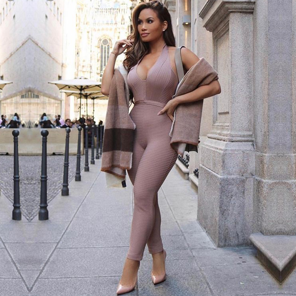 Adyce 2019 New Summer Women   Jumpsuit   Elegant Deep V Sexy Backless Sleeveless Halter Celebrity Night Club Party   Jumpsuits   Romper