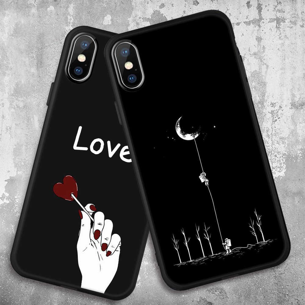 Hati Cinta Lucu Tpu Silikon Case untuk iPhone X Max XR Ponsel Case untuk iPhone 6 S 6 7 8 PLUS 5 S SE X Tritone Frosted Fundas