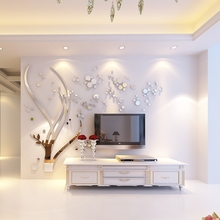 Modern Tree Mirror Crystal Acrylic Wall Stickers Living Room TV Sofa Background 3D DIY Wall Sticker Home Decor 3D Wall Decals цена