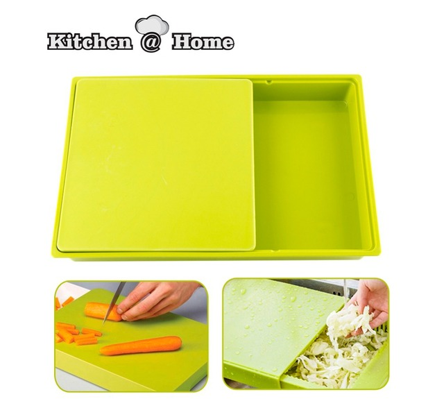 2 In 1 Multifunction Drawer Cutting Board Double Kitchen Chopping Boards Plastic Blocks Kk045