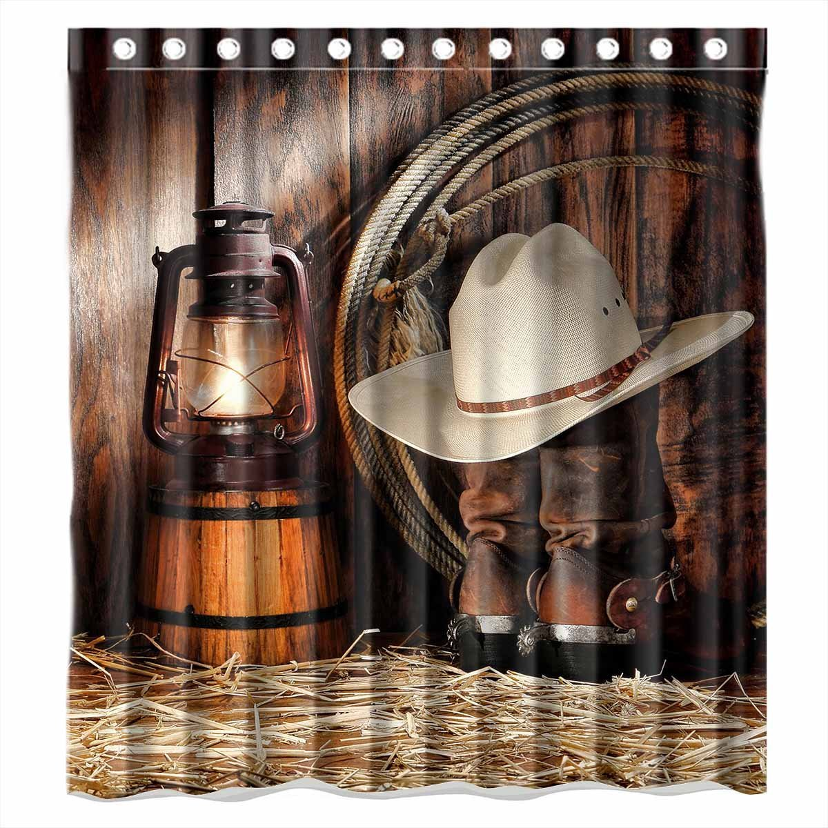 WARM TOUR West Rodeo Cowboy Shower Curtain Waterproof Thick Bath With Hooks Ring 71