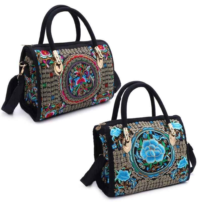 3b5546b3add7 Новая женская цветочная вышитая сумка Этническая Бохо Холщовая Сумка На  Молнии Сумка Национальный стиль цветочный принт
