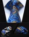 "Party Wedding Classic Pocket Square Tie TZP12B8 Blue Yellow Paisley 3.4"" Silk Men Tie Necktie Handkerchief Cufflinks Set"