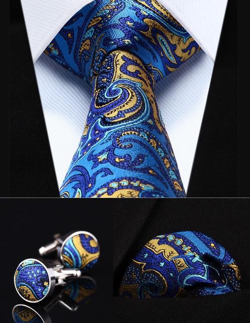 """Pocket Square Wedding Party Classic Corbata TZP12B8 Azul Paisley Yellow 3.4 """"de Seda lazo de Los Hombres Corbata y Gemelos Conjunto"""