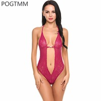 Lingerie Sexy Erotic Hot Bodysuit Women Transparent Floral Lace Teddy Mesh Body Nightwear Erotica Adult Sex