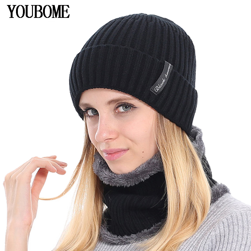 YOUBOME Fashion Winter   Skullies     Beanies   Knitted Hat Scarf Female Winter Hats For Women Men Baggy Girls Warm Thicken Caps Hats