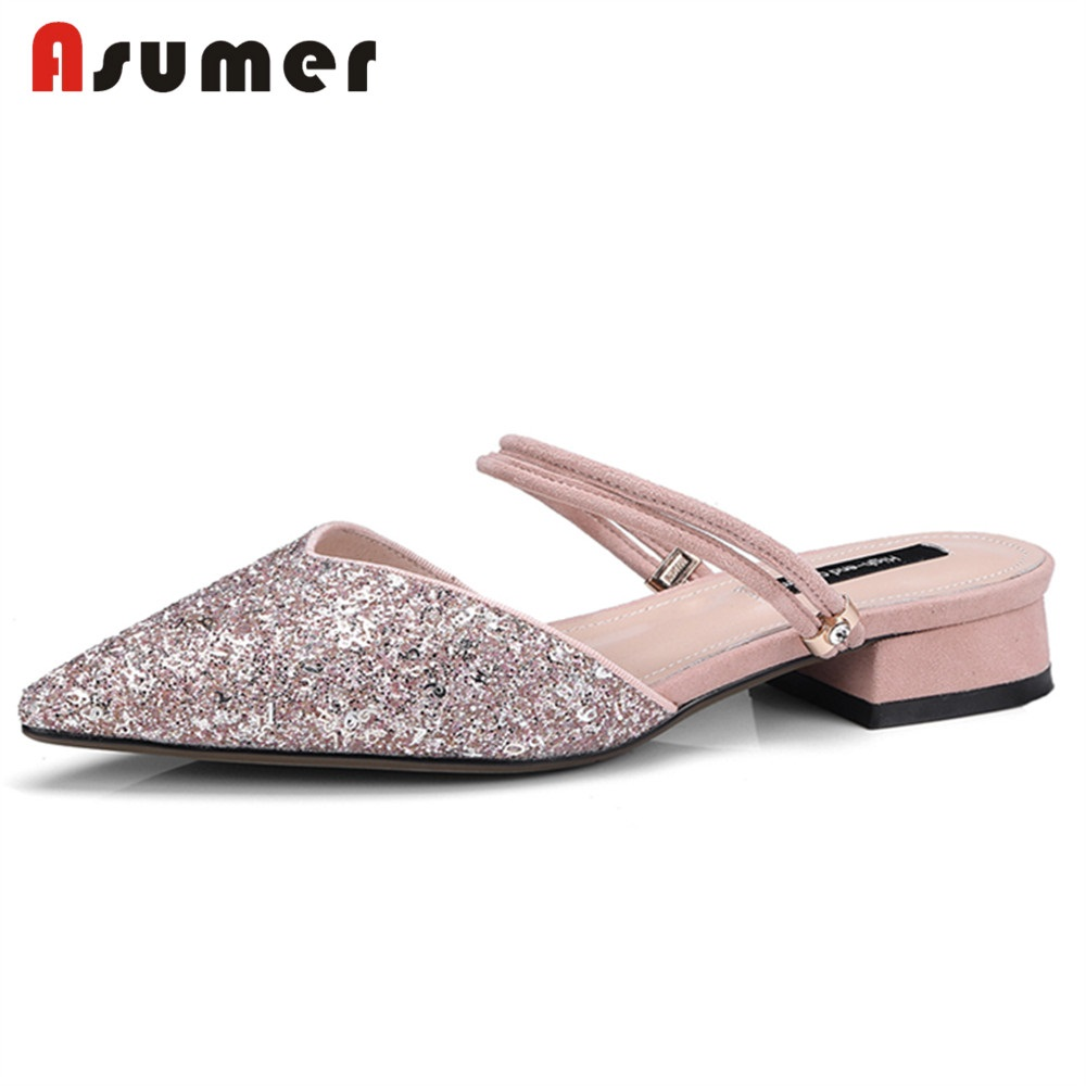 ASUMER Sandals Women Party Shoes Dress Mules Square Floral Bling Pointed-Toe Fashion