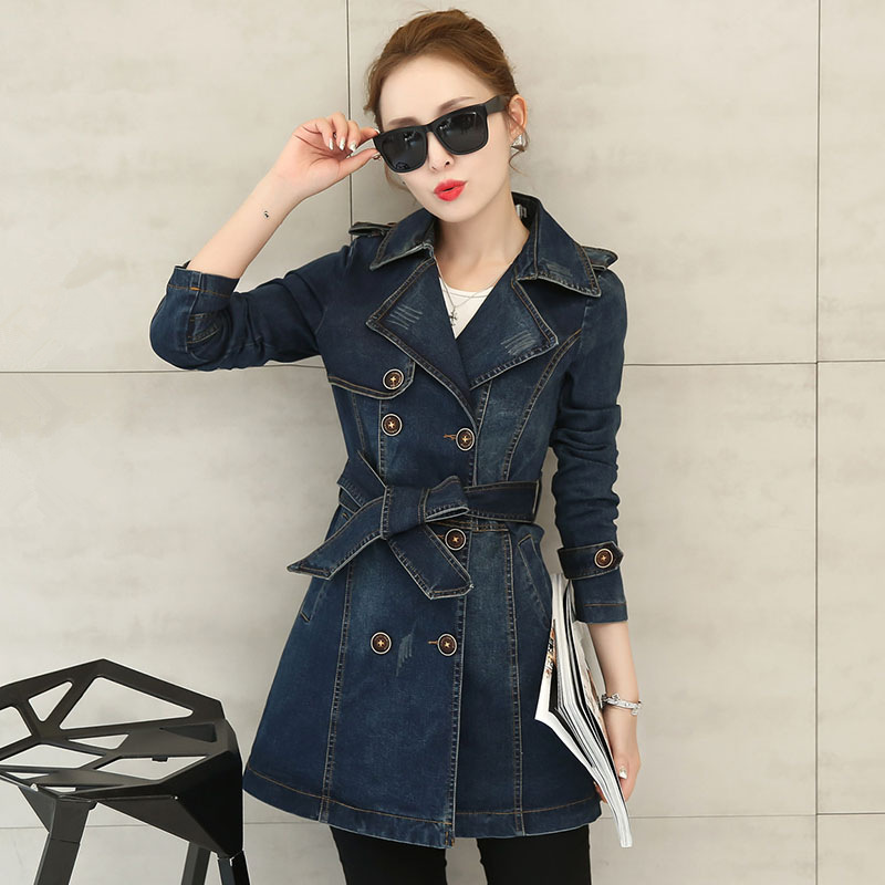 Long Denim   Trench   Coats 2018 Women Vintage Slim Autumn Winter Outerwear Fashion Double Breasted Windbreaker Overcoat   Trench   3XL