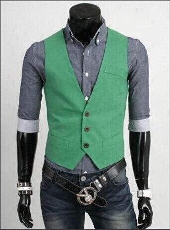 Мода Slim Фитнес Для мужчин жилет весна Для мужчин жилет Блейзер Жилеты цвет 5 Для мужчин Топы корректирующие одежда - Цвет: Зеленый