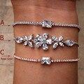 Nova marca de moda de Luxo Casamento forma ashlar puxando pulseira Cubic zirconia pulseira Para A Mulher