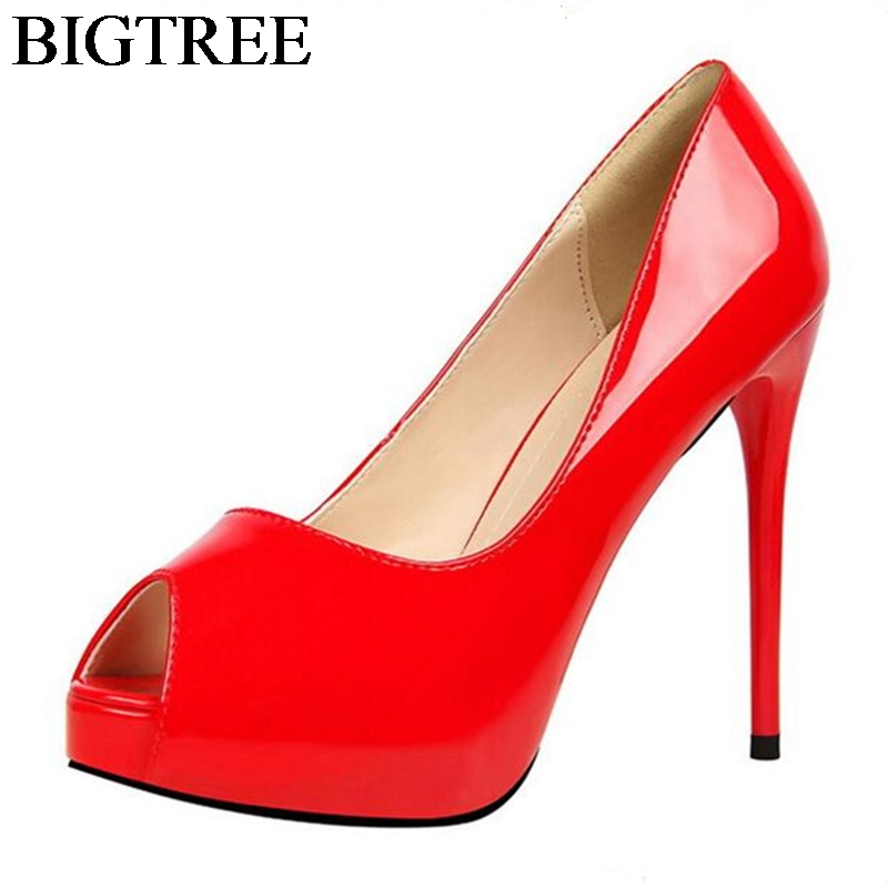 BIGTREE Sexy Extreme High Heel Shoes Open Toe Pumps Woman Leather Platform Thin Heels Party Shoes Silver Nightclub Shoes 12cm dropshipping best selling genuine leather super high heel 12cm platform 3 cm evening shoes sexy point toe high heels r243