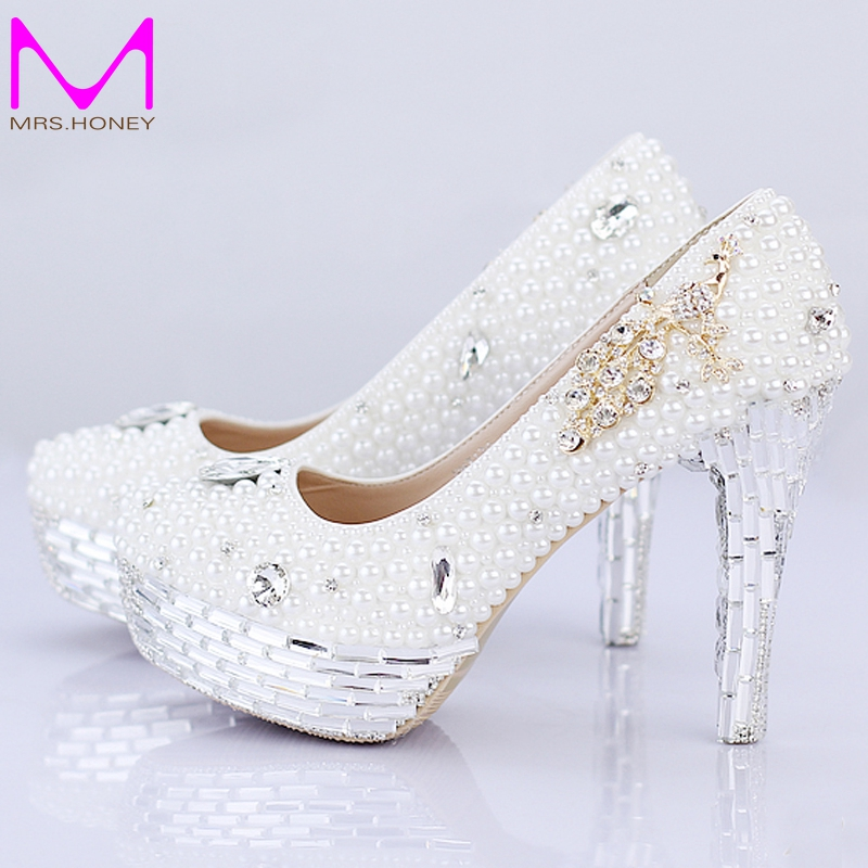 Ladies High Heel Handmade Fashion White Pearl Wedding Shoes Rhinestone 100% Designer Bridal Dress Shoes Silver Crystal Heel aidocrystal luxurious handmade pearl crystal diamond wedding shoes white bridal low heel dress high heels