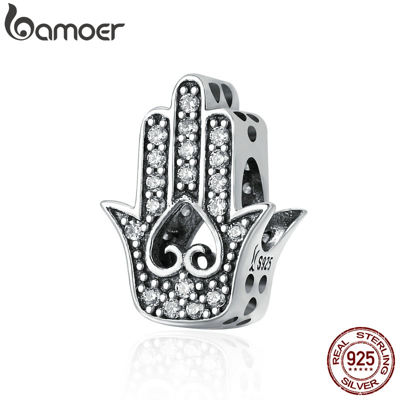 BAMOER Authentic 925 Sterling Silver Good Luck Hand Of Fatima Charms fit Women Bracelets & Necklaces DIY Silver jewelry SCC225BAMOER Authentic 925 Sterling Silver Good Luck Hand Of Fatima Charms fit Women Bracelets & Necklaces DIY Silver jewelry SCC225