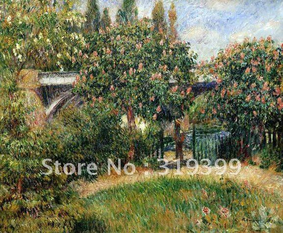 Oil Painting Reproduction on linen canvas,railway bridge at chatou by pierre auguste renoir,Free DHL Shipping, 100% handmade