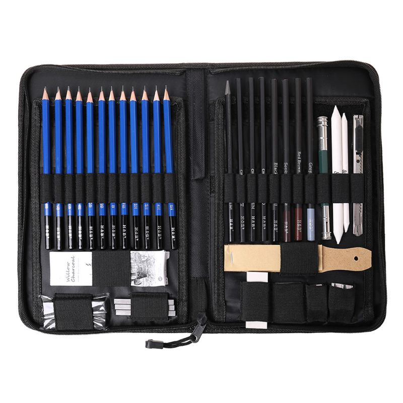 Strict 40pcs/set Professional Sketching Drawing Pencil Eraser Sharpener Charcoal Pastel Kit Art Supplies With Carry Case Elegant In Smell Office & School Supplies