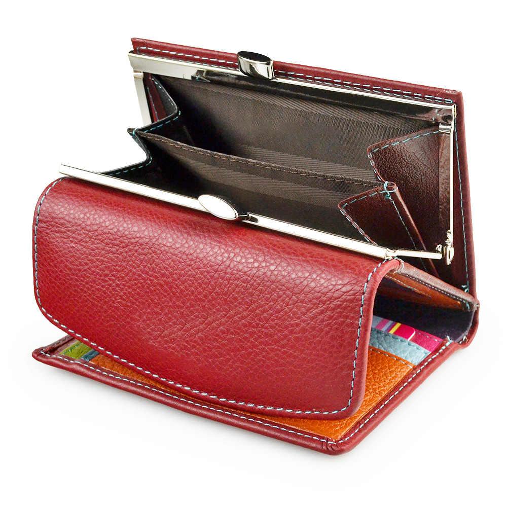 Billetera delgada de mujer de cuero genuino corto de gato de la señora Mini tarjetero monederos de bolsillo de la moneda pequeña de la cartera de las muchachas del dinero