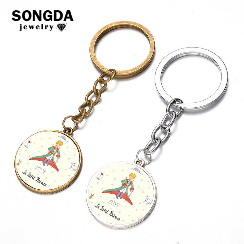 SONGDA Brand Newest The Little Prince Key Chain Handmade Glass Dome Cartoon Fun Children Pendant Keychain Jewelry for Boys Girls