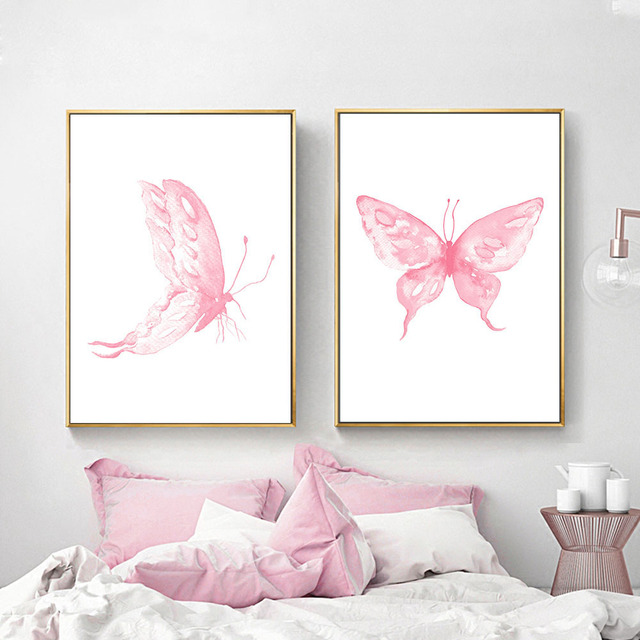 Pink Erfly Wall Art Posters Nursery Prints Nordic Style Painting Pictures For Children Bedroom Decoration