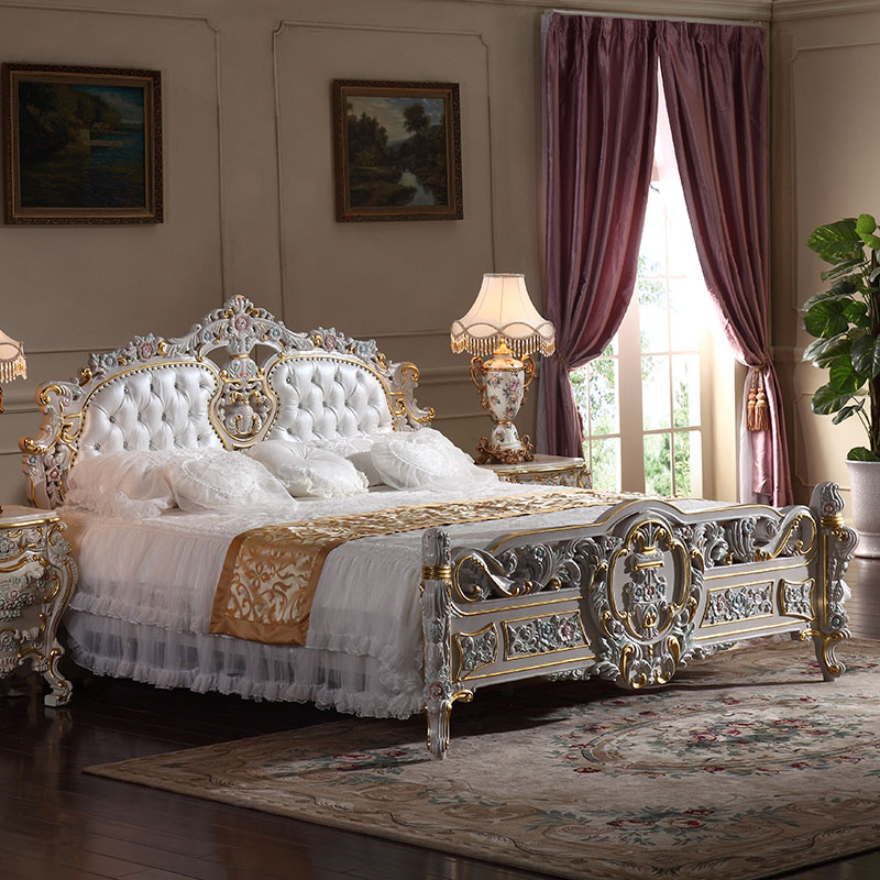Hand Carving Furniture Handcraft Royalty Golden Foil Bed