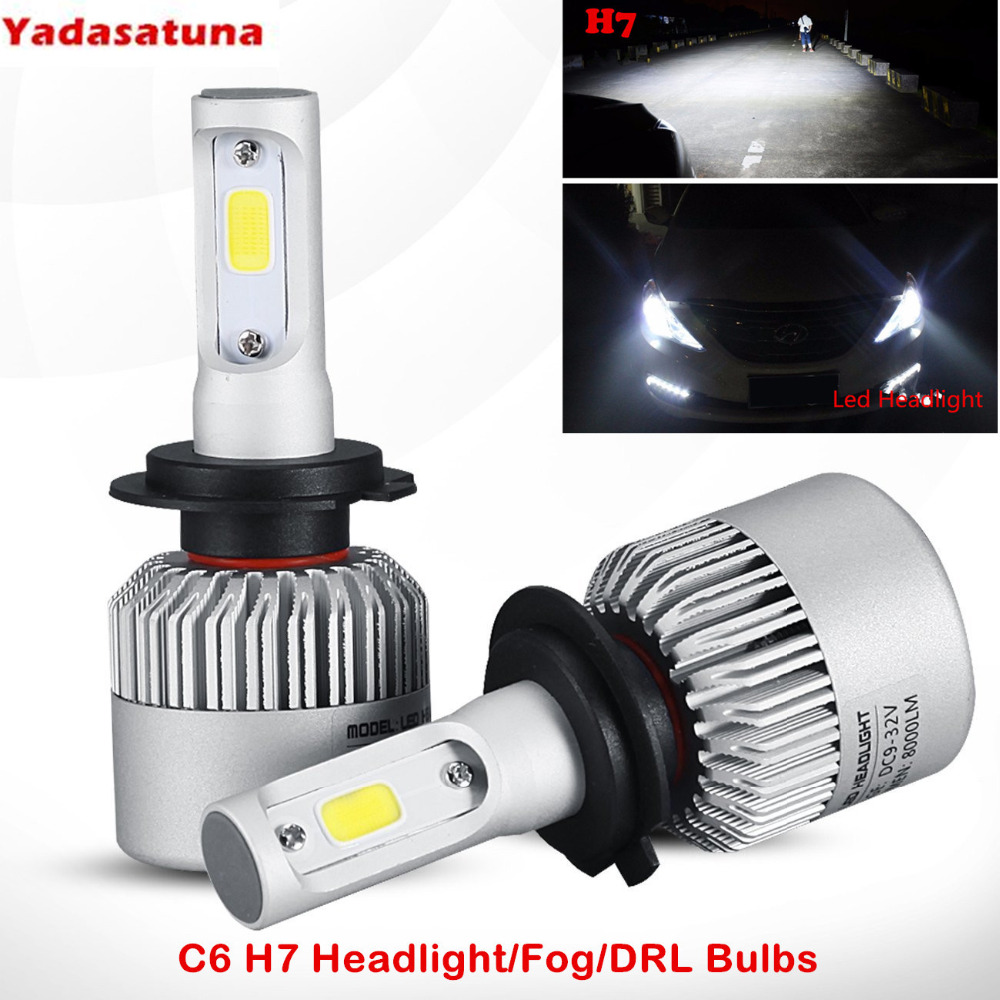 8000lm Xtremely Super Bright 6500K Xenon White High Power COB Mini H7 LED Headlight Conversion Kits Bulbs for Replacing Halogen dhl free shipping mitchell 2015 car repair software fits car from 1984 to 2015 work for any computer and no limited to use