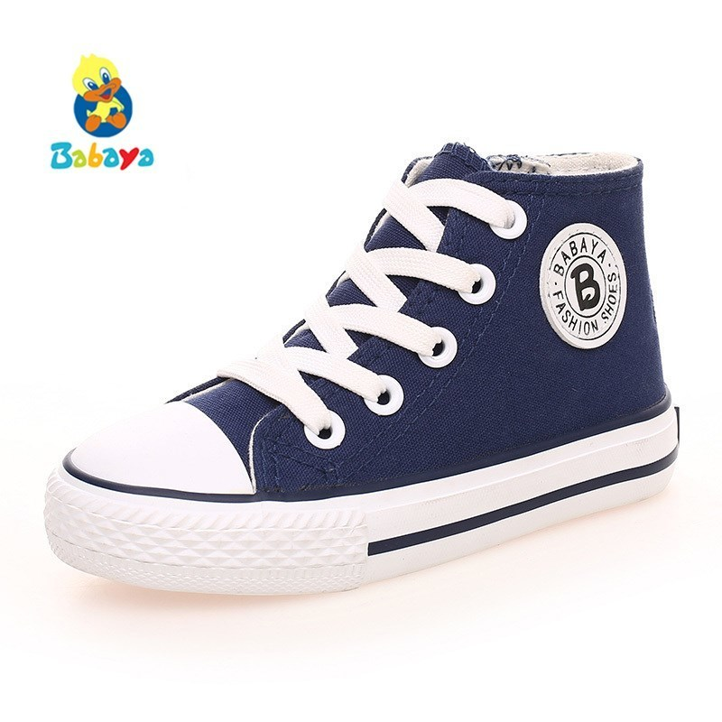 Kids Canvas Shoes Boys Children Shoes Lace 2017 New Spring Summer Fashion Sneakers Boys Shoes White Kids Shoes For Girl