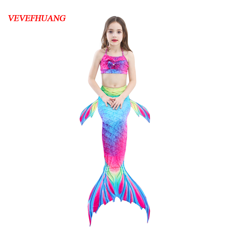 Girls Mermaid Tail for Swimming with Monofin Little Children Mermaid Costume Cosplay Kids Swimsuit Bathing Suit цена