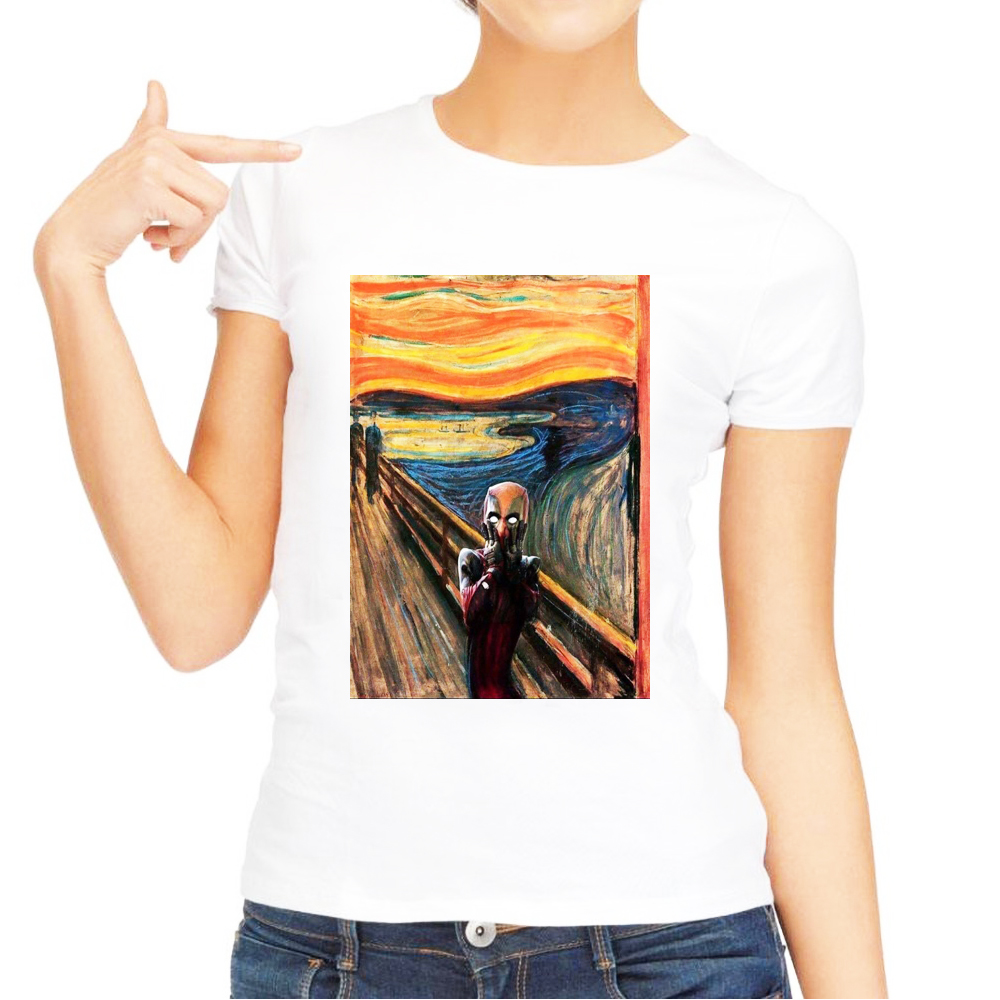 Edvard Munch Skrik The Scream Deadpool Funny T Shirt Women 2018 Summer New White Casual Homme Tops Tshirt Price $9.98