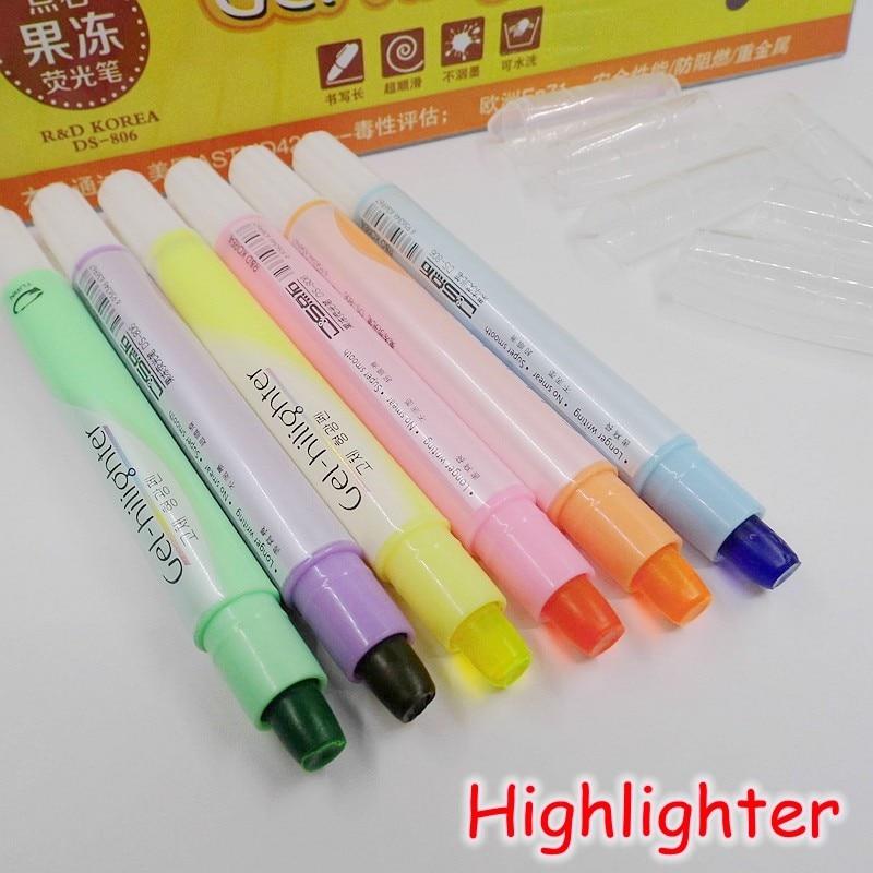 [D&S] (6 Couleurs / Lot) Mignon Gel Surligneur Stylo Finecolor Peinture Marqueur Crayon Haute Qualité Bureau Scolaire Papeterie DS-806