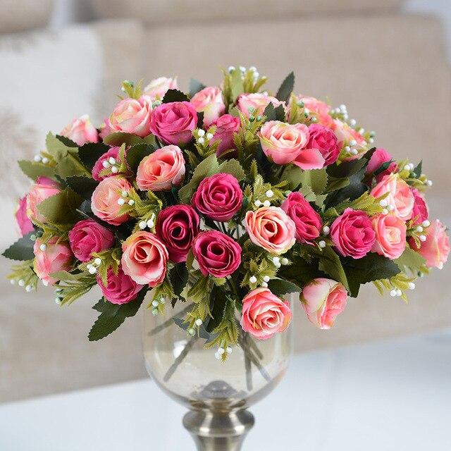 Artificial Silk Hibiscus Rose Plant Bouquet Fake Flower Wedding Home