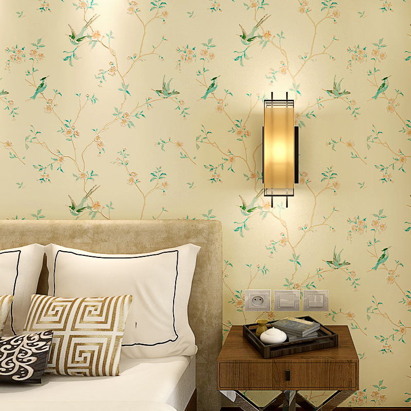 Classical Chinese Style Birds and Flower Wallpaper Roll Non Woven Paper Contact for Living Room Bedroom Walls Yellow Khaki non woven bubble butterfly wallpaper design modern pastoral flock 3d circle wall paper for living room background walls 10m roll