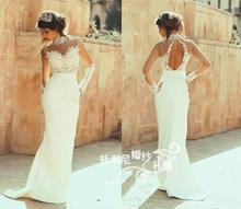 Custom Sexy Backless white long Prom gown 2015 new hot vestidos sheath crystal beading appliques lace Formal Evening Dresses