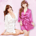Seda Sexy Lace Kimono Dressing Vestido Bath Robe Babydoll Lingerie Nightdress