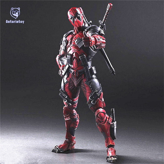 все цены на Deadpool Figure Wolverine X Men X-MEN Play Arts Kai Deadpool Wade Winston Wilson Play Art KAI PVC Action Figure 26cm Doll Toy