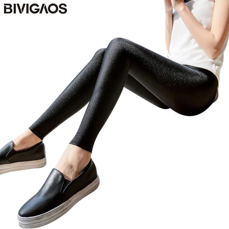 5d9ec0134bfe0 BIVIGAOS Womens Skinny Thin Leggings Sexy Pants Female Summer Stretch Shiny  Gloss Black Leggings Women Leggins