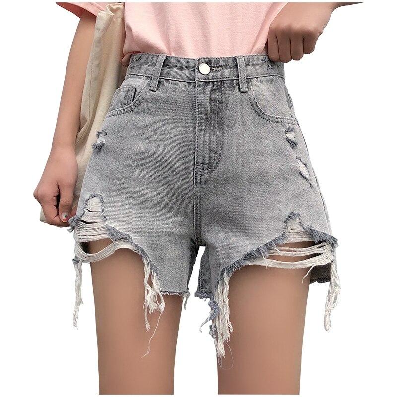 100% Vero Nuova Estate Grigio Strappato Hole Denim Shorts Per Le Donne 2019 A Vita Alta Foro Shorts Strappato Freddo Distressed Jeans Shorts
