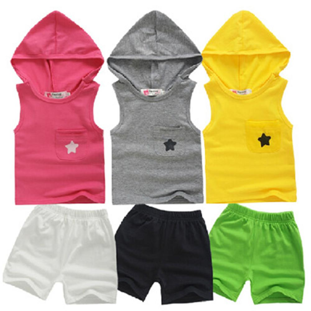 1 2 3 4 Year Kids Clothes 2018 Summer New Casual Children Clothing Set Hooded Vest Shorts 2PCS Boys Girls Sports Suits