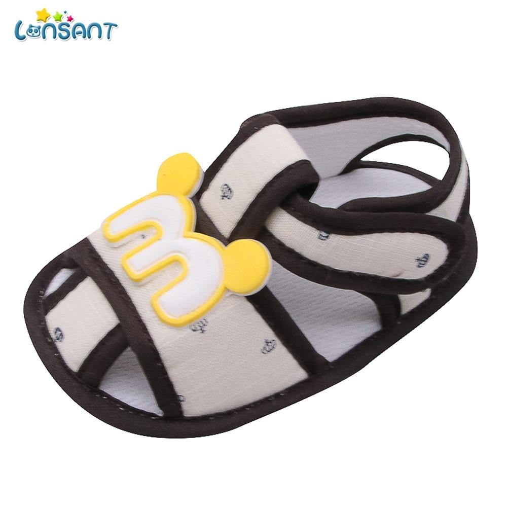 LONSANT Newborn Baby Shoes First Walkers Cartoon Cat Shoes Crib Bebe Girls Princess Anti-Slip Footwear Crib Shoes Sandals N30