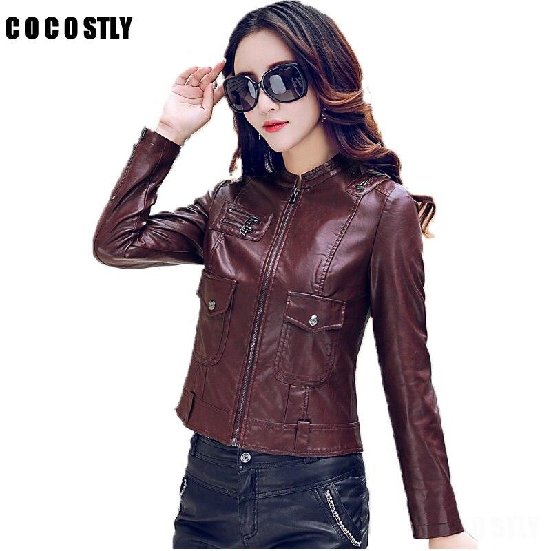 High Quality 2017 autumn   leather   jacket women   leather   clothing coat short design   leather   coat lady clothing Plus size 5XL