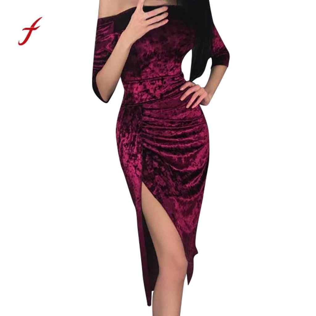 Sexy Off Shoulder Velvet Dress Women Slash neck High Slit Evening Party  Dress Women Solid Casual a73da1e8d4d9