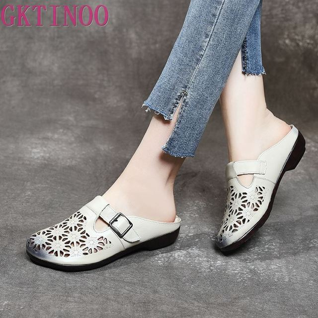 GKTINOO 2020 الصيف المرأة جلد طبيعي قباقيب أحذية مستديرة رئيس الانزلاق على فام النعال الرجعية جوفاء Zapatillas Mujer