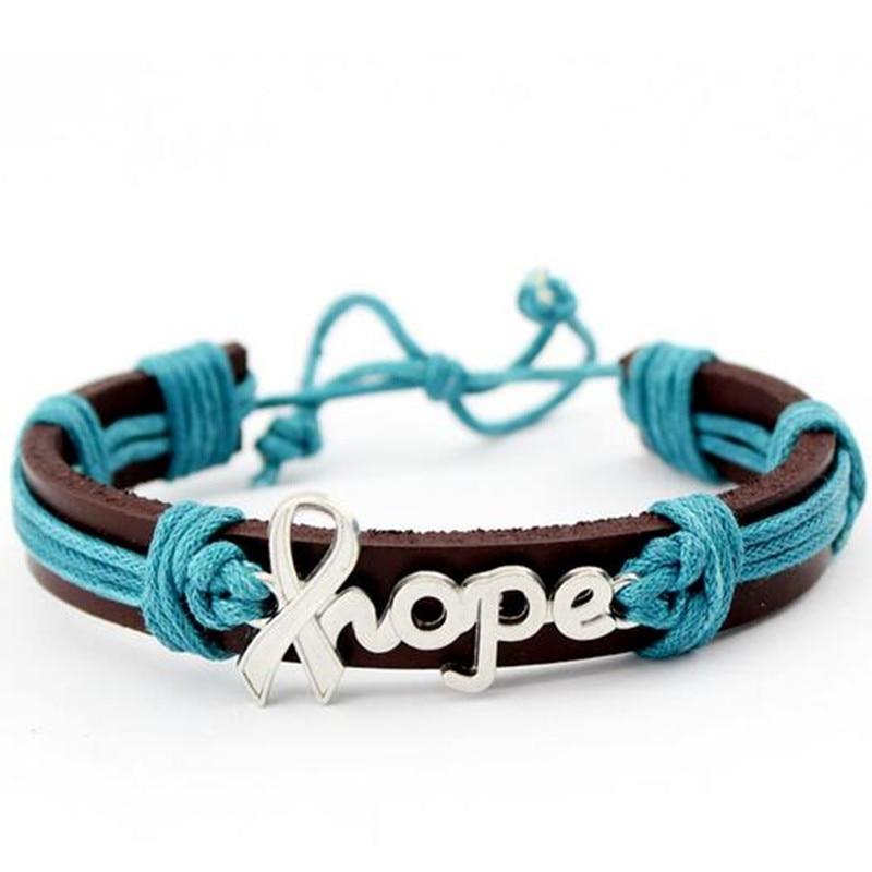 Alloy Hope Ribbon Charm Leather Bracelets Bangles Ovarian Cancer Awareness Wax String Hand Knitted Leather Bracelet 10pcs Lot Charm Bracelets Aliexpress