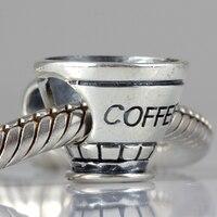 Wholesale 925 Sterling Silver Coffee Cup Charm Fits Bracelets Bangles Pendant Bracelet Jewelry