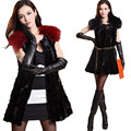 V460-genuine Mink  fur  outerwear,raccoon fur shoulder,medium-long design,female winter fall women's fur vest