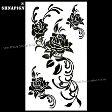 SHNAPIGN Black Flowers Temporary Body Art Flash Tattoo Sticker 10x17cm Waterproof Henna Fake Car Styling Wall Tattoo Sticker