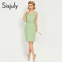 Sisjuly Women 1950s Bodycon Dress Pin Up Sleeveless Button Sashes Elegant Dress Summer Female Green Luxury